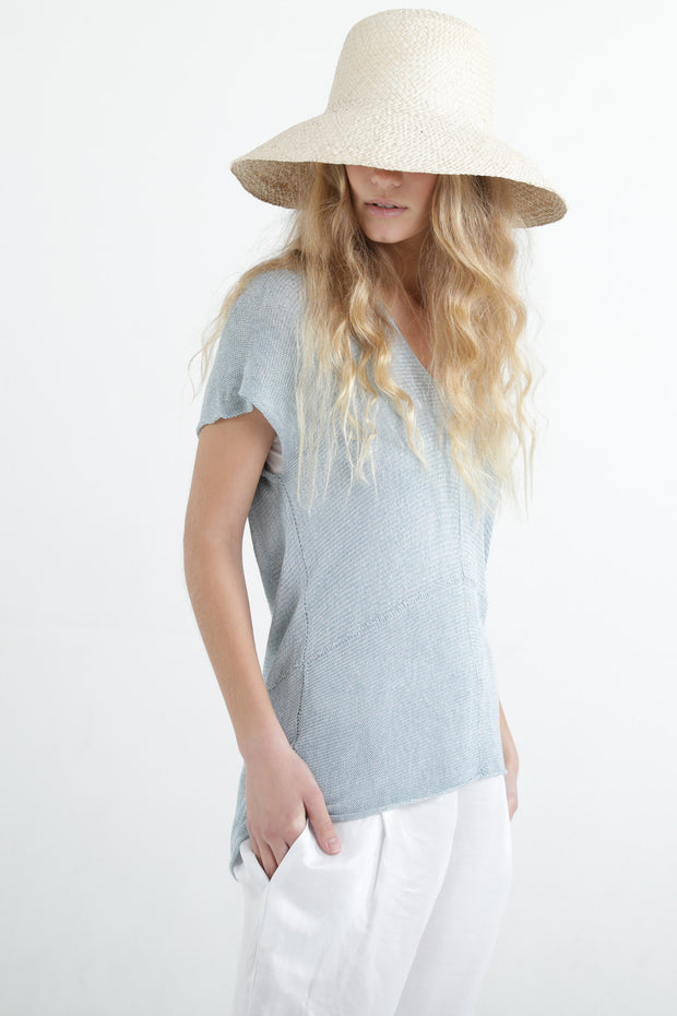 Sky blue Aqua V neck Cross knit top with short sleeves