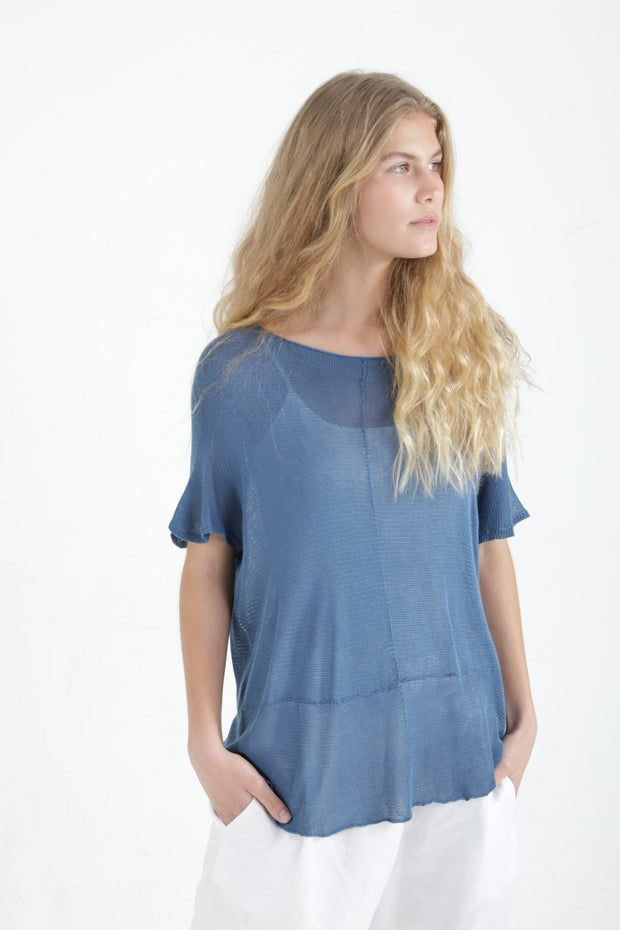 Sea Blue Boat neck loose knit T- shirt