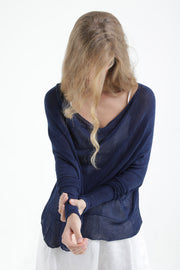 Navy Blue Boat neck Long sleeve oversize knit top