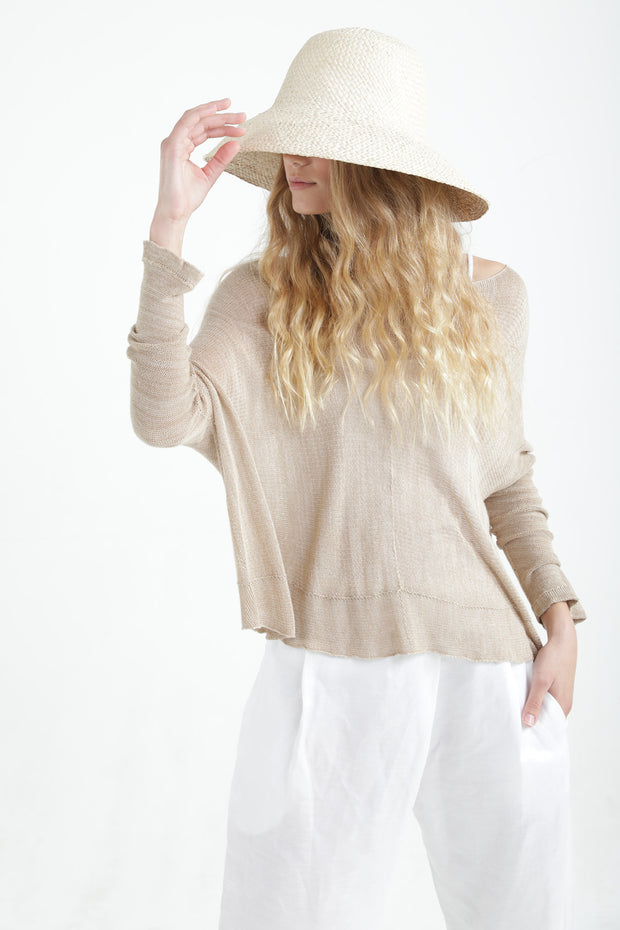 Boat neck oversize knit top in Linen color