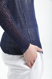 Indigo Navy Blue Short Open knit Bamboo Cardigan with buttons