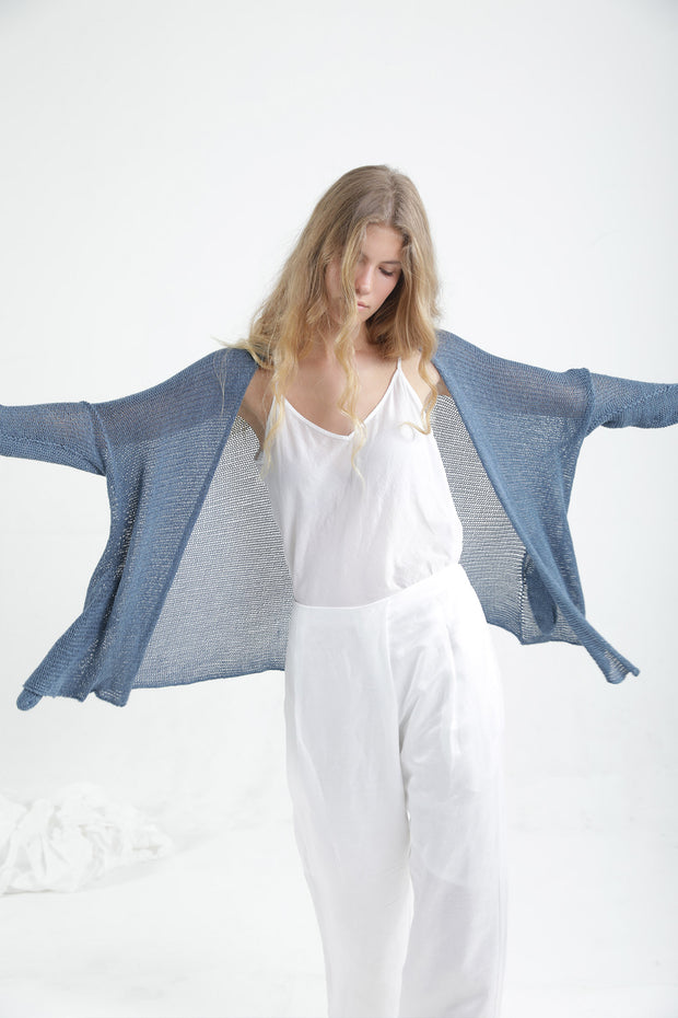 Peacock Blue Beka loose cardigan with pockets