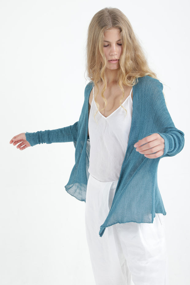 Mint Light teal Breve Short Bamboo Cardigan