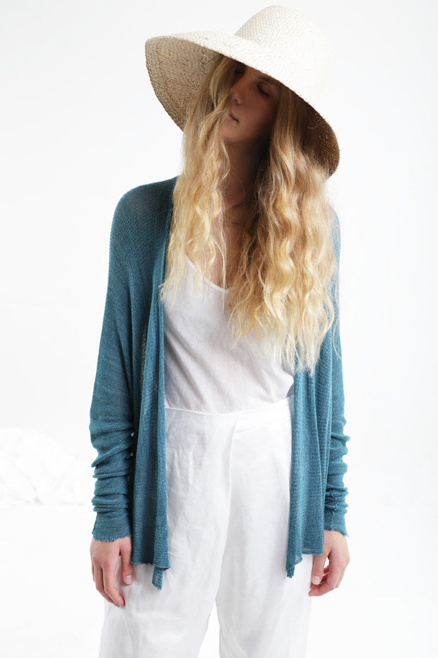 Breve Short Bamboo Cardigan - Turquoise / Light teal - mint