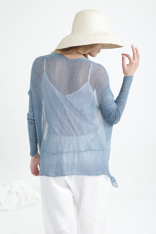 Peacock Blue Light Pas Bamboo Cardigan