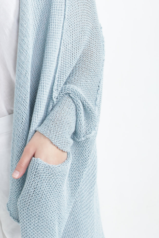 Aqua Oversize T Light Sweater with Pockets