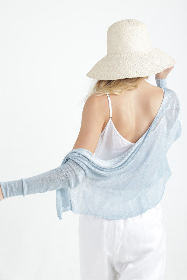 Aqua Short Light Bamboo Cardigan