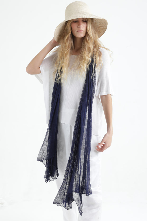 Dark Blue Navy Big Air Bamboo Light Scarf