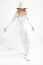 White Long Bamboo Cardigan