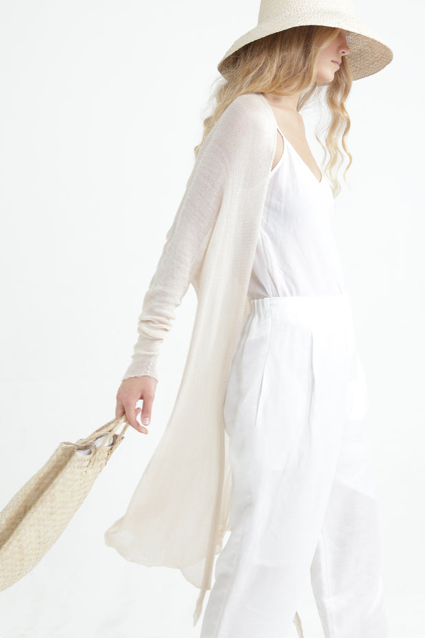 Long Bamboo Cardigan - Lavender purple / off white