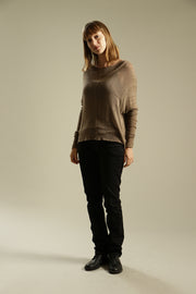 Dark Taupe - Brown long sleeves round neck shirt