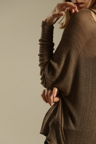 Brown long sleeves round neck shirt