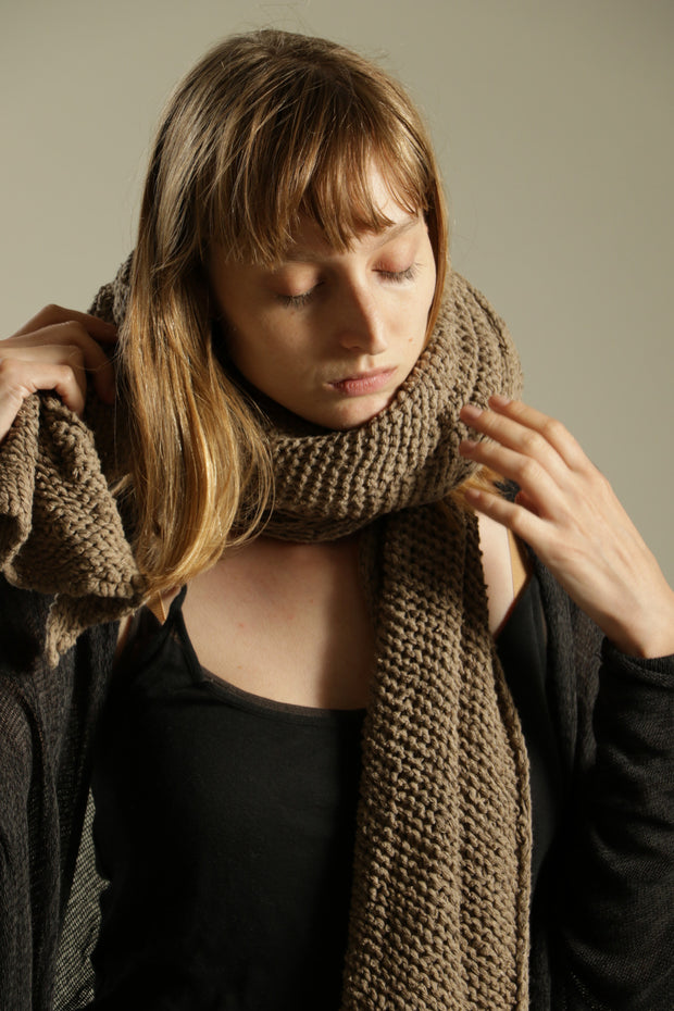 Dark Taupe Camel Chunky Scarf - Lungo