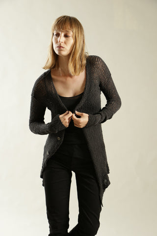 Charcoal Black Handmade Cardigan with buttons - Prevo
