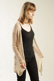 Dusty Blush Nude Cotton and Bamboo handmade Cardigan with buttons - Prevo