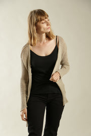 Light Taupe Light Cardigan with buttons - Prevo