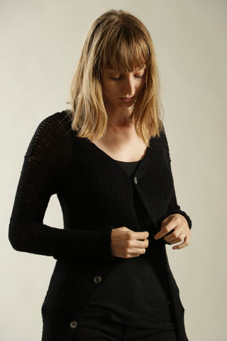 Black Open Kintting Prevo Cardigan