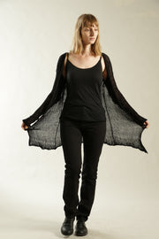 Black Open Kintting Cardigan with buttons