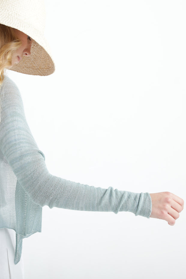 Teal green Short Light Bamboo Cardigan