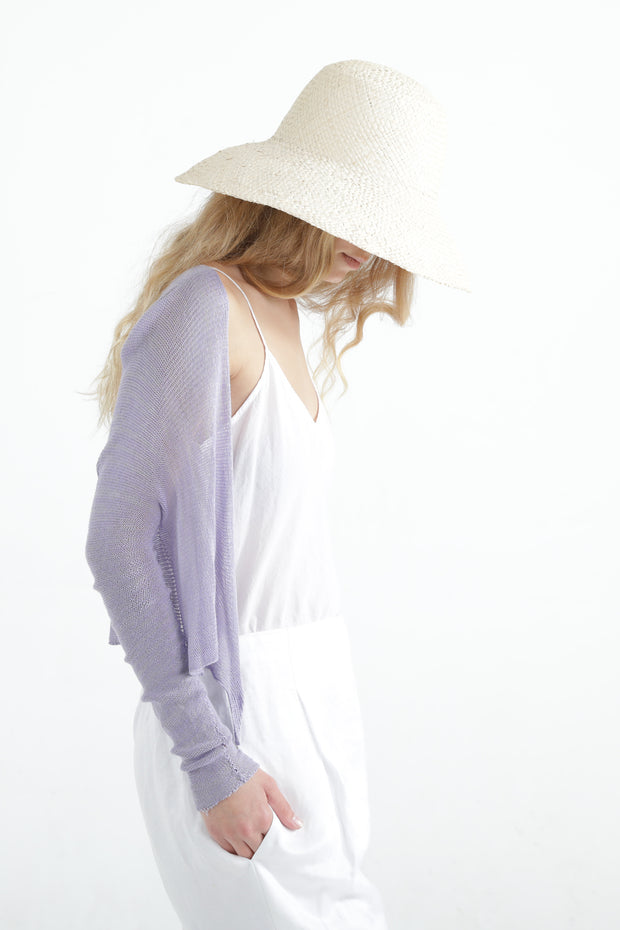 Lavender Light Purple Short Light Bamboo Cardigan