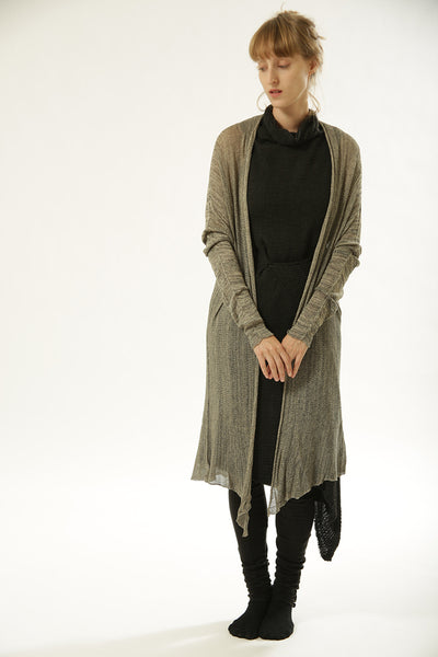 Long Bamboo Cardigan - Salt & Pepper , B&W