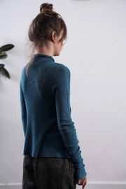Turquoise Turtleneck Baraka knitted Bamboo shirt with Long Sleeves