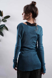 Baraka knitted Bamboo shirt with Long Sleeves - Turquoise / Dark Navy Blue / Peacock Blue