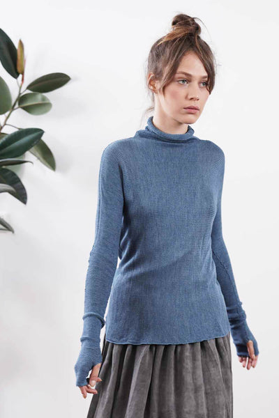 Blue Turtleneck Baraka knitted Bamboo shirt with Long Sleeves