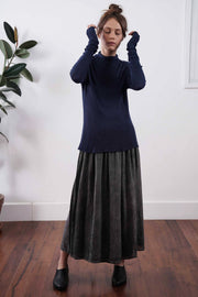 Dark Navy Blue Turtleneck Baracka knitted Bamboo shirt with Long Sleeves
