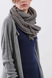 Open knit Cotton, Soy & Bamboo Prevo Scarf - Gray