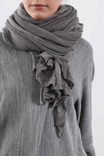 Big Soy Air Knit Scarf - Gray / Black-charcoal