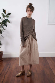 Brown Turtleneck Baraka knitted Bamboo shirt with Long Sleeves