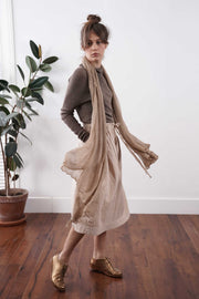 Big Air Bamboo knit Scarf - Light Brown / Dark Brown