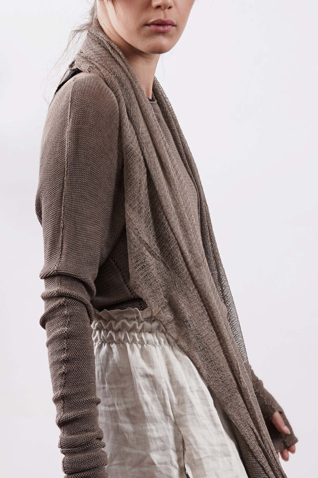 Brown Dark Taupe Baraka knitted Bamboo shirt with Long Sleeves