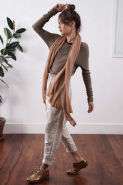 Golden Brown Baraka knitted Bamboo shirt with Long Sleeves