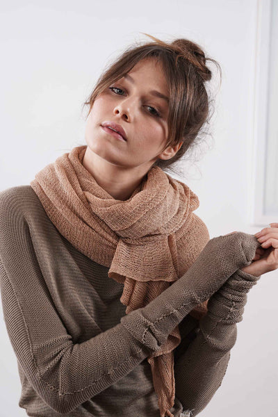 Big Soy Air Scarf - Sand / Dark Taupe