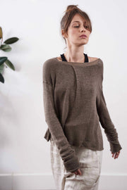 Pleat Metalo bamboo & Soy Sweater - Brown Dark Taupe / Blue / Silver Gray / Black charcoale