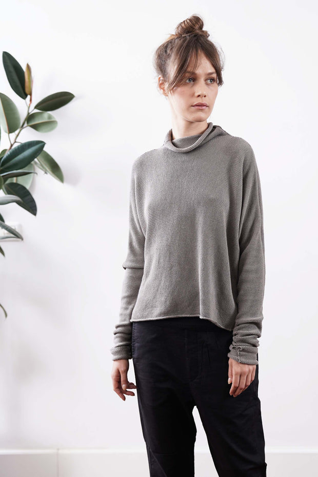 Turtleneck Baraka knitted Soy Sweater = Gray / Fog / Charcoal / Cognac / Purple / Green / Sand