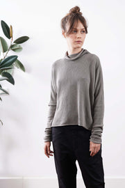 Turtleneck Baraka knitted Metals Sweater- Charcoal black