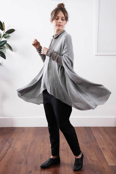 Metalo Open Poncho Cape - Silver Grey, made from  Bamboo, Cotton & Soy