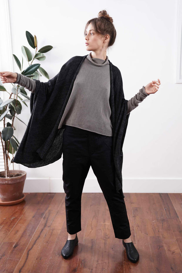 Metalo Open Poncho Cape -Black & Charcoal, made from  Bamboo, Cotton & Soy