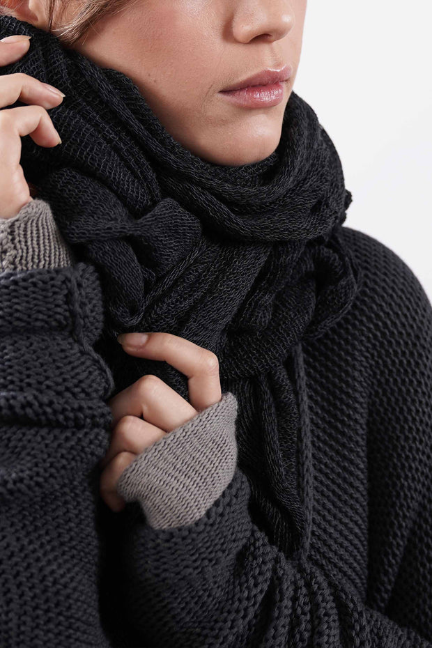 Big Soy Air Knit Scarf -Black-charcoal / gray