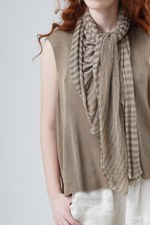 Bamboo Tremilor Stripes Scarf - Brown / Linen-Grey-White