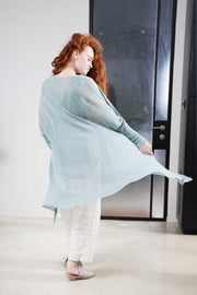 Light Teal mint Long Bamboo Cardigan