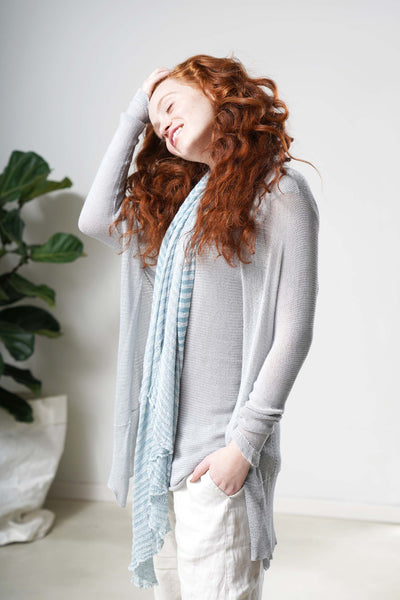 Light Pas Bamboo Cardigan - Silver Aqua