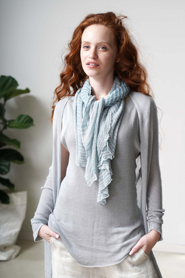 Tremilor stripes Bamboo Scarf - Sky blue & Of white
