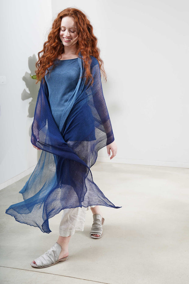 Aqvarelle Big Air Bamboo Sheer Scarf -Blue