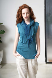 Boat neck sleeveless knit top - Turquoise
