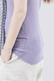 Boat neck sleeveless knit top - Lavender / White