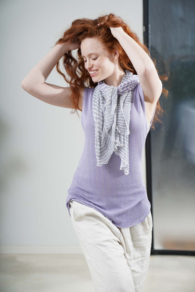 Lavender Light Purple Tremilor stripes Bamboo Scarf